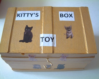 Handmade Golden Kitty Toy Box -- Chipboard