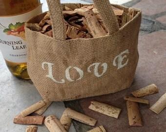 SALE Burlap LOVE Flower Basket Bag - Rustic - Wedding