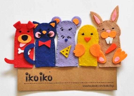 Set De Baño En Pano Lenci:IKO Títeres de dedo Títeres Mascotas Set de 5 por IkoIkoToys