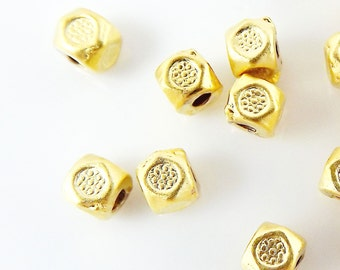 30 Flower Stamped Cube Bead Spacers - 22k Matte Gold Plated