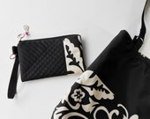 Tote bag, market bag, or large handbag in black and white with included wristlet or clutch.  Great for travel.