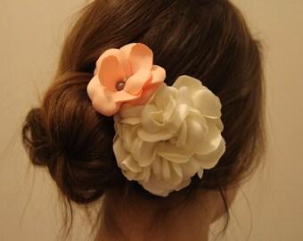 Coral and Ivory Gardenia Bridal Hair Clip 2