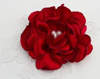 Red Gardenia Hair clip