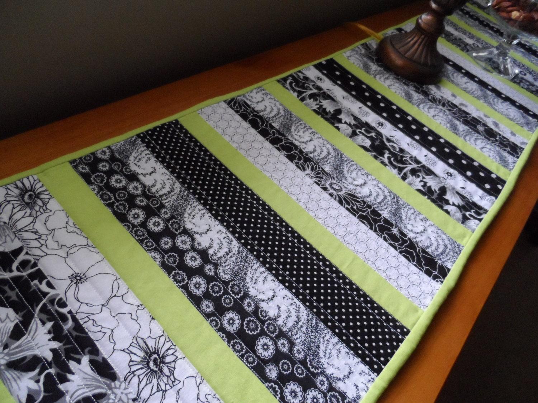 Modern table runner quilted table runner in black white for Modern table runner