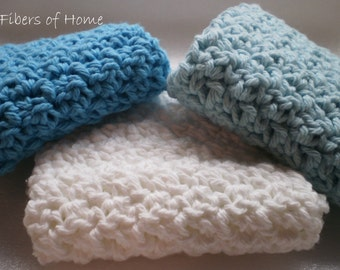 Super Thick Exfoliating Wash Cloths Set of 3 -100% Cotton Yarn - Cool Waters colors Spa Cloths - House Warming - Gifts - Baskets