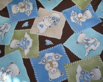 "Bear print  fabric - remnant 17"" X 44"""