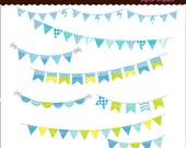 50%sale, bunting clip art , printable flags , Colourful bunting and flags 2, Digital clip art, boys, blue  yellow