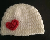 Baby Girl Valentine Hat White with Heart