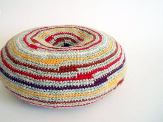 Striped round pillow, croheted decorative cushion, bohemian decor, multicolor throw / sofa pillow