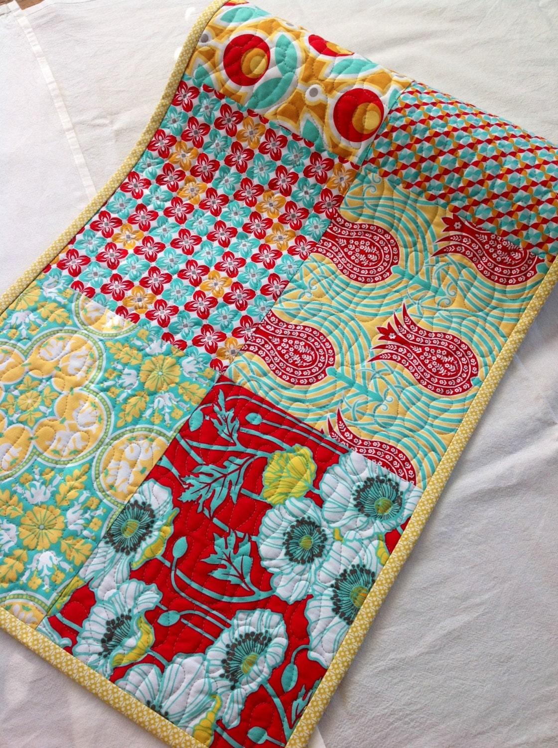 Table Runner Quilted Modern Floral Joel Dewberry Notting
