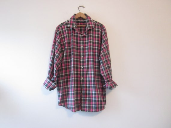 vintage hipster plaid shirt cotton flannel shirt fuchsia hot