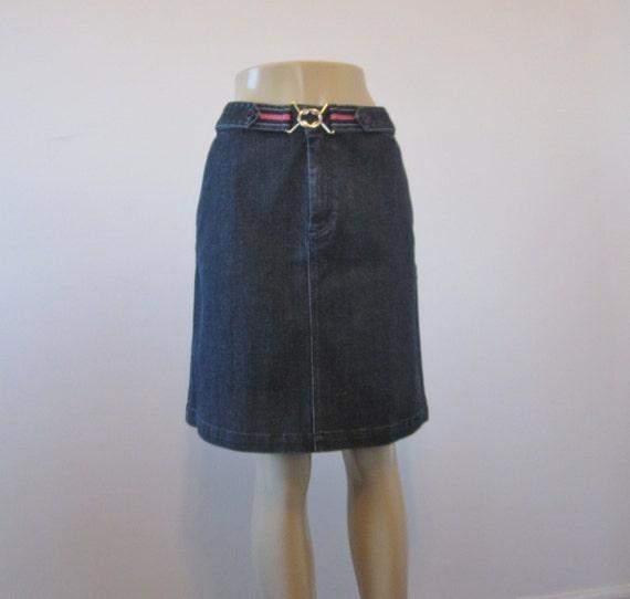 vintage stretch denim skirt talbots belted skirt