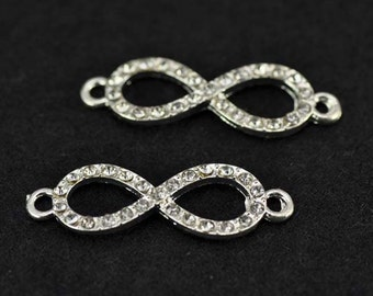 10pcs 10x31mm Silver Plated Rhinestone Infinity Charms Connectors - infinity symbol Charms Pendant