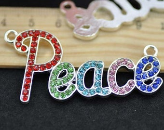 5pcs 27x56mm Silver Plated Colorful Rhinestone Peace Charms Connectors - Peace Charms Pendant