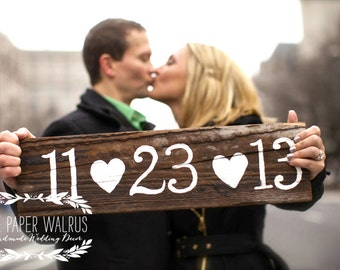 Wedding Save The Date Sign, Rustic Wedding Signs, Wedding Date Sign, Engagement Photo Prop Sign | 20x5.5