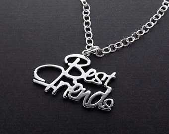 Sterling Silver Necklace - Best Friends Script Pendant