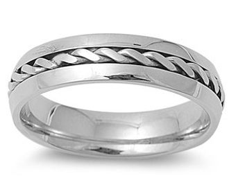 Personalized 6mm Stainless Steel Twisted Cable Ring - Free Engraving