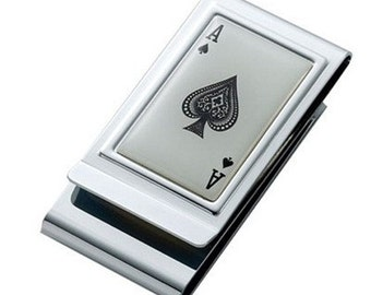 Ace of Spades Two Sided Money Clip - Free Engraving