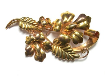 Carl Art Retro Brooch 10K Rose Gold And Yellow Gold Flower Jewelry