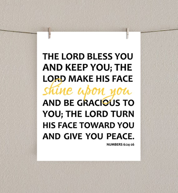 Verse Art Home Decor Print  - Numbers 6:24-26 - The Lord Bless You, The Lord Make His Face Shine Upon You -  Yellow, 8x10