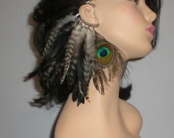 Feather Ear Cuff, Black Feather Ear Cuff, Earrings, Feather Earring , Boho hippy Ear Cuff, Tribal Ear Cuff
