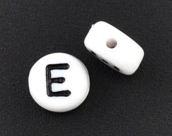 Letter bead: E beads, Set of  20, 7mm, Alphabet Beads, LTR004