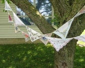 blue and gray vintage hankie bunting