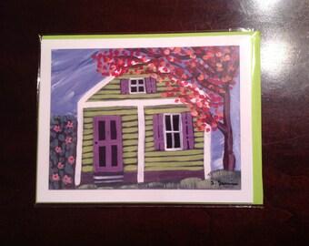 Blank Note Cards Original Art Key West Conch House 4.25 x 5.5