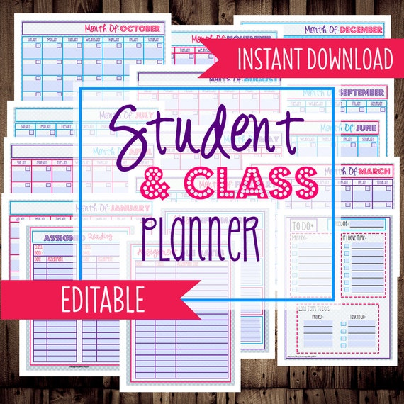 College Student Planner Printables Letter By