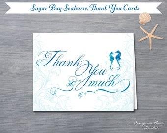 Seahorse Thank You Cards, Beach Wedding Thank You Cards, Bridal Shower Thank You Notes, Thank You Card Set, Nautical Note Cards