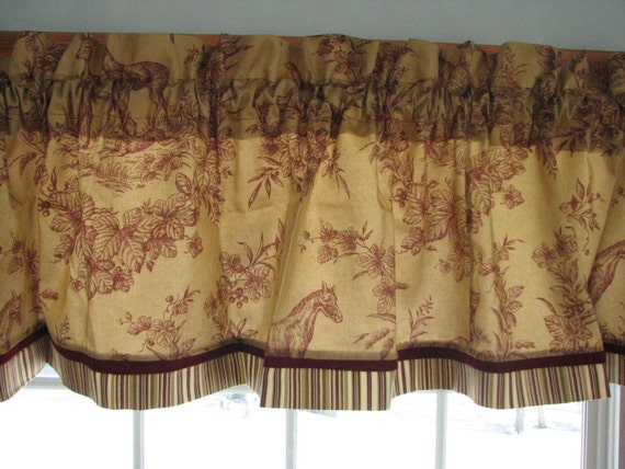 Tan Tea Stain Red Scenic Toile Valance 17 X 81