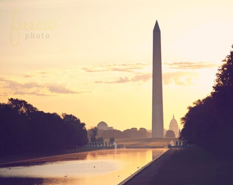 Monuments at Sunrise Photo Print, Washington DC Fine Art Photography