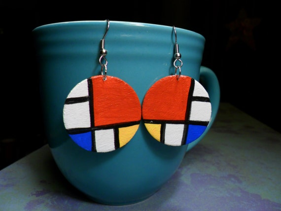 piet mondrian inspired earrings. Black Bedroom Furniture Sets. Home Design Ideas