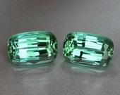 Matching Pair Teal Green Tourmaline - Cushion 6.7ct - Near Loupe Clean gems