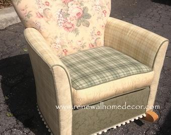 """Custom Order - Upholstered Rocking Chair - """"Shabby Chic Rocker"""" - SOLD"""