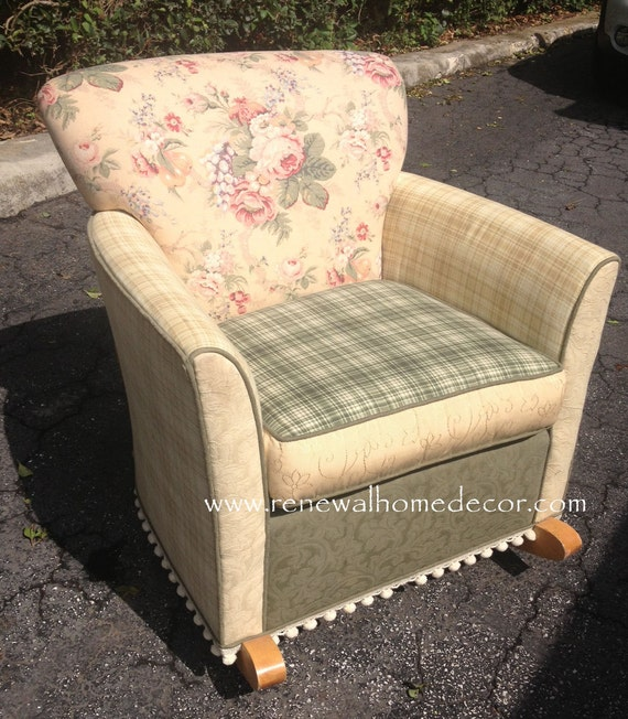 Custom Order Upholstered Rocking Chair Shabby Chic