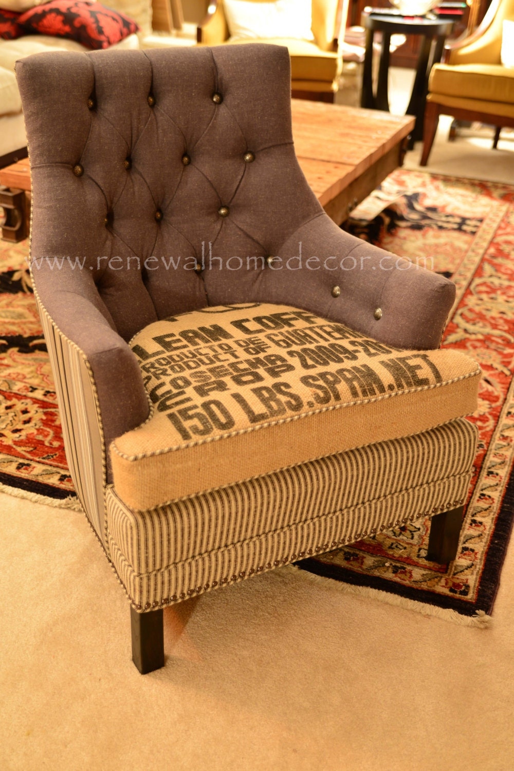 Custom Order Vintage Accent Chair Clean Coffee 3
