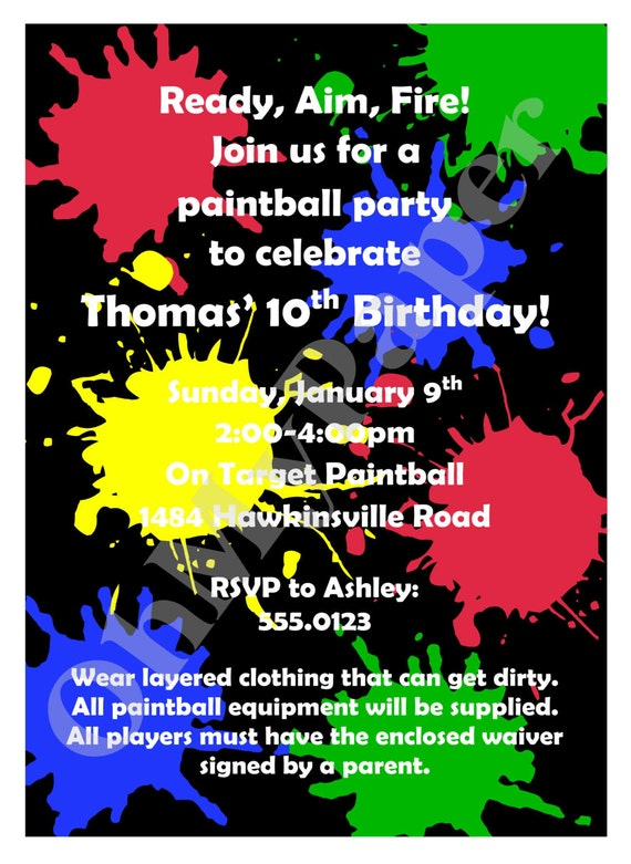 paintball party invitations, Party invitations