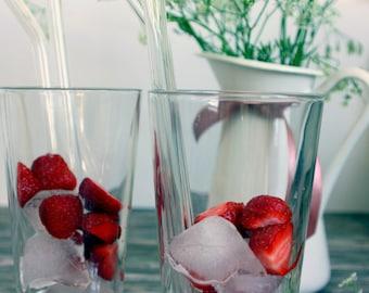 Glass Straws, Set of 6, 10 mm x 200 mm, straight