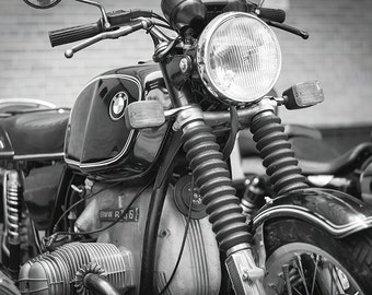R75/6 Classic BMW Motorcycle No. 4 - New York Photography - 8x12 Black and White Fine Art Print