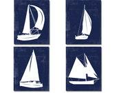 Nautical Wall Art, Sailboat Wall Art, Nautical art, Blue white Sail Boat, Sailboat Print Set, Beach house Nautical nursery