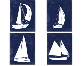 Nautical Wall Art, Sailboat Wall Art, Nautical art, Blue white Sail Boat, Sailboat Print Set, Beach house Nautical nursery