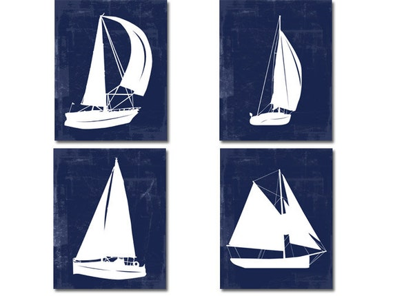 White Nautical Wall Decor : Items similar to nautical wall art sailboat