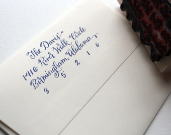 Calligraphy Return Address Stamp: Traditional Style