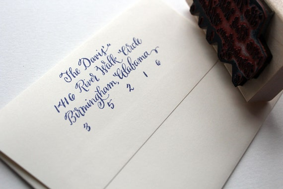 Calligraphy Return Address Stamp Traditional Style