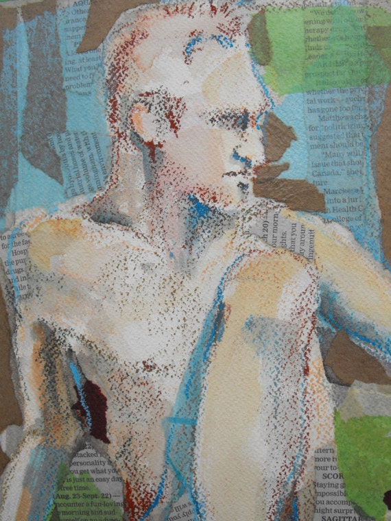Original figure study, mixed media collage, oil pastel and watercolour, male nude, 10 X 14, Figure 21
