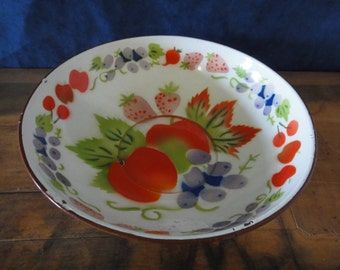 Vintage Enamelware Fruit Bowl