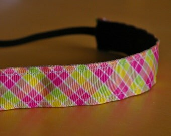 Pink plaid headband. Plaid headband, pink headband, girl's plaid headband, women's plaid headband, yoga headband, sports headband, accessory