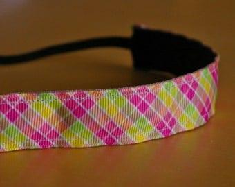 Pink summer plaid non-slip headband. Plaid headband, girls headband, preppy headband, yoga headband, sports headband, running headband