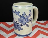 Vintage Delft Windmill Blue and White Tall Mug